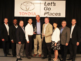 "Tony Gregory - President & CEO, Barry Brennan - Vice President and Alan Oto - General Manager - Automotive & Transportation Divisions accepted both Awards from Toyota's Executive Team on behalf of the entire CG automotive team. At Custom Goods we build trusted relationships and perform to our mantra - ""Exceeding Expectations…Together."""